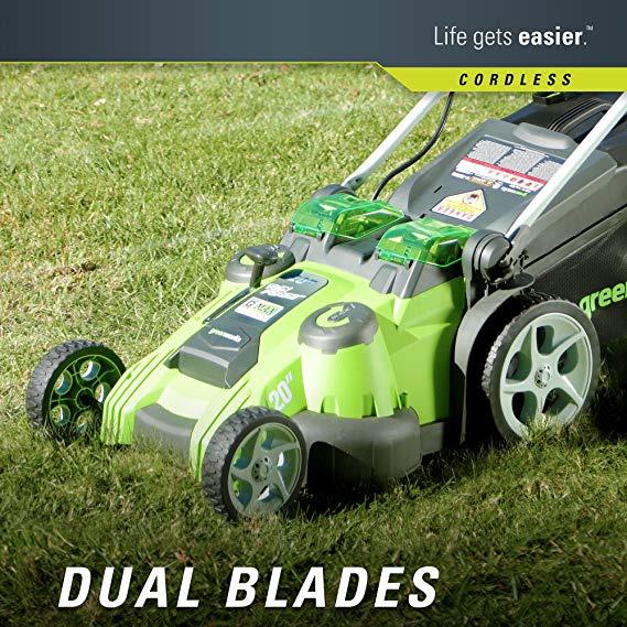 Greenworks-dual-blades-Cordless-LawnMower