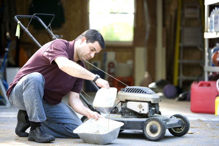 change oil of push mower